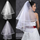 White/Ivory Wedding Bridal Veil Satin Edge Comb Elbow Simple Cathedral