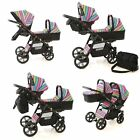 Baby Pushchair Pram Tandem Sport- Twin - Double Travel System + 2x Car Seat Free