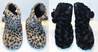 DG Womens Bootie Slippers Furry Black or Leopard Size 8-9 NWT
