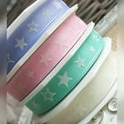 15mm Star Wired Ribbon. Blue Pink Mint Green Ivory Baby Shower Summer Stars
