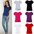 Womens Fashion Short Sleeve Casual Solid Color T-Shirt Tee Blouse Top Hot Trendy