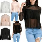 Womens Ladies 3/4 Sleeve Peplum Frill Chiffon Polo Neck See Through Mesh Tee Top