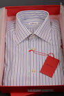 KITON NAPOLI Hand Made White Striped Fitted Dress Shirt NEW