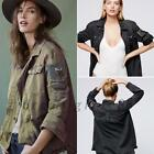 Women's Butto Up Embellished Embroidered Army Military Shirt Jacket Outwear Coat