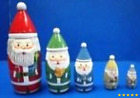 "5.5"" Set of 5 Multicolor Santa with Christmas Gifts Wooden Nesting Dolls"