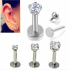 UP Nose Lip Helix Stud Tragus Crystal Cartilage Earring Stainless Steel Piercing