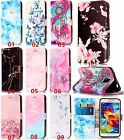 Marble butterfly flower slim flip leather card slot stand cover case for samsung