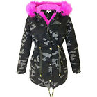 Ladies Camouflage Jacket Women Parka Coat Faux Fur Trim Hooded Parka Coat 8-16