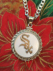 STERLING SILVER ROPE PENDANT W/ HAND PAINTED MLB CHICAGO WHITE SOX SETTING GIFT on Ebay