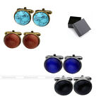 2 Pairs Round Copper Bronze Gemstones Mens Shirt Cuff Links Stud Gift Cufflinks
