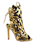 Wild Diva Mirror Gold Silver Open toe Lace up Ankle Heels Women's shoes Nikia-32