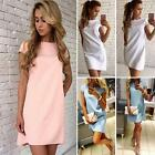 Women Summer A Line Loose Dress Solid Color Casual Short Mini Dresses USPE
