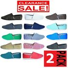 2 x MENS ZAPATILLAS CANVAS SHOES Slip On Casual Loafer Assorted Colour Pack SALE