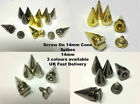 20 x 14mm Screw on Cone Spikes Punk Rock Leather Bag Shoe Studs CRAFT Biker Goth