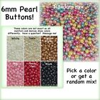 6mm Pearl Buttons Plastic Red White Black Pink Blue Sewing Ivory Doll Purple