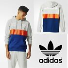 adidas Originals Retro Hoodie Grey Orange Blue Serrated Graphic Trefoil Logo