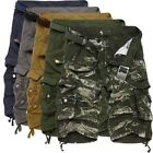 Casual Men Cotton Summer Army Combat Camo Work Cargo Shorts Pants Trousers 29-38