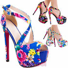 Women's shoes sandals floral high heels plateau straps sexy new SQ1653