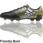 Adidas X16.3 Leather Boots (FG - Black/White/Gold)