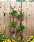 RUSTIC SHOVEL OR PITCHFORK WALL FENCE FLOWER HERB GARDEN PLANTER WITH 2 POTS