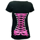 Restyle Pink Corset Ribbon Lacing Print Black Gothic Short Sleeved Tshirt Top