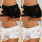 CH Women Lace Hollow Floral Shorts Stretch Waist Casual Beach Short Hot Pants