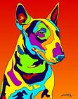 Made in USA Multi-Color Bull Terrier Dog Breed Matted Print Wall Decor