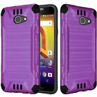 For Alcatel Zip LTE A576BL A577 Brushed Slim Dual Layer Armor Hybrid Cover Case