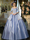 Victorian Blue square Women's short sleeve tunic Palace costume Ball Gown Dress