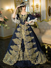 Victorian vintage Blue square Embroidered Lace up Plus size Ball Gown Dress