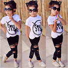 Stylish Toddler Kids Girls Style T-shirt Tops Pants Leggings Outfits Set Clothes