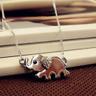 Women Lady Jewelry Cute Mom & Baby Elephant Diamante Pendant Necklace Chain Gift