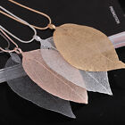 Women Natural Leaf Pendant Sweater Necklace Long Chain Leaves Gold Plated Gifts