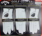 Callaway Mens Golf Gloves Premium Cabretta Leather Size Medium 3 2 or 1 Gloves