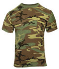 Camo T-shirt Woodland Camouflage With Chest Pocket Hunting Shirt Rothco 6667