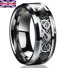 UK Men's Silver Celtic Dragon Titanium Stainless Steel Wedding Rings Men Rings