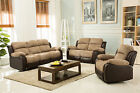 New Luxury California Jumbo Cord / Faux Leather Recliner Sofa - Beige / Brown