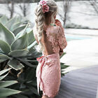 Women Summer Long Sleeve Backless V-neck Lace-Up Evening Cocktail Party Dress