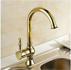 Golden Brass Kitchen Faucet Swivel Spout Single Hole /Bath Basin Sink Mixer Tap