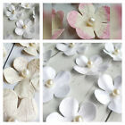 12 Paper Flowers with Pear Centre & subtle Glitter finish Pink Blush White Ivory