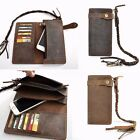 Cowhide Men Leather Biker Trucker Long Chain Wallet Card Holder Checkbook Purse