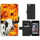 Phone Card Slot PU Leather Wallet Case For Apple iPhone curious cow blaze