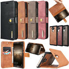 Genuine Real Leather Removable ID Wallet Card Flip Stand Case Cover For Huawei