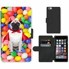 Phone Card Slot PU Leather Wallet Case For Apple iPhone devil pug dog fruity can