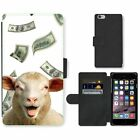 Phone Card Slot PU Leather Wallet Case For Apple iPhone funny sheep falling mone
