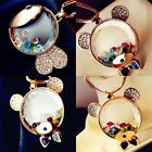 Crystal Cartoon Bear with Colorful Stone Pendant Chain Necklace Jewelry Gift New