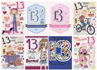 BOY GIRL YOU'RE 13 TODAY GLITTERY 13TH BIRTHDAY GREETING CARD 1STP&P (TEENAGER)