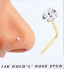 14K Solid Real Gold Clear CZ Prong L-Bend Nose Stud 24g 1.5mm 2mm Gem #865