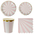 Creative Gold Blocking Pink Striped Paper Tray Paper Cup Party Decorations