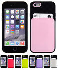 """iPhone 6 4.7"""" Cell Phone Case w/Card Slot in Pink, Red, Green, Purple or Silver"""